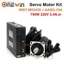 ONEWIN 90ST-M02430 750W 220V AC servo motor driver kit 3000rpm 2.4N.m match driver AASD-15A permanent magnet servo motor driver 750w ac servo motor 80st m02430 ac servo motor driver 220v aasd 20a for cnc engraver and cutting machine