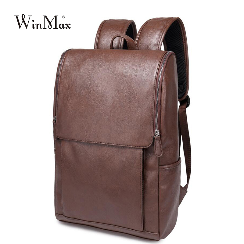 Image 5 - WInmax PU Leather Backpack Men Business Rucksack Fashion Bag Student Schoolbags Men Travel Bags for Teenagers BackpacksBackpacks   -