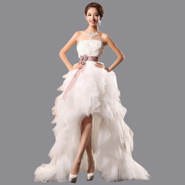 High Low Wedding Dress Asymmetrical Strapless Lace Up Back Tulle Front Short Long Bridal