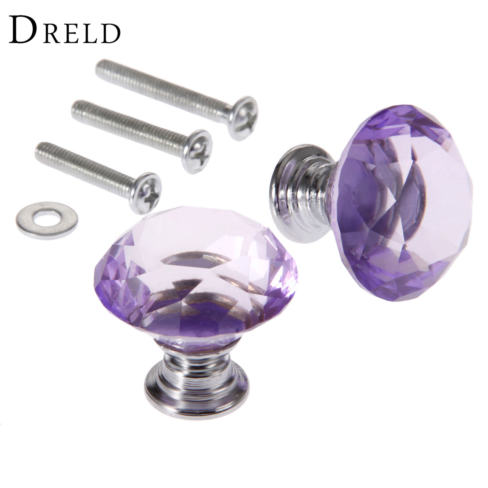 DRELD 2Pcs 30mm Diamond Crystal Drawer Pulls Glass Door Cabinet Wardrobe Pull Knobs Purple Furniture Handles + 6Pcs Screws 10 pcs 30mm diamond shape crystal glass drawer cabinet knobs and pull handles kitchen door wardrobe hardware accessories