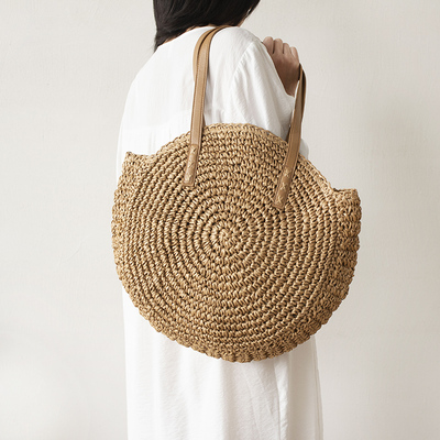 Shoulder-Bag Rattan-Bags Raffia Circle Round Straw Woven Vacation Handmade Vintage Bohemian