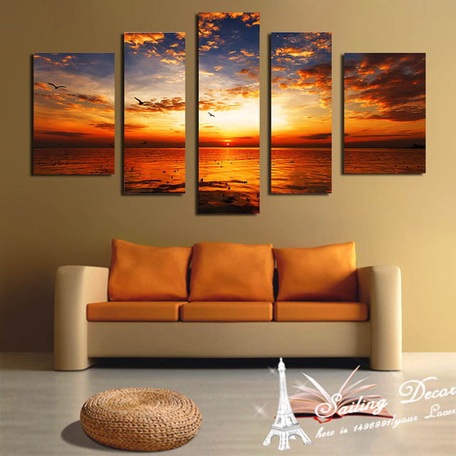 Large Size Unframed Sunset Scenery Beauty Time New Artist 5 Panels Wall Art Pictures Canvas Printed & Large Size Unframed Sunset Scenery Beauty Time New Artist 5 Panels ...