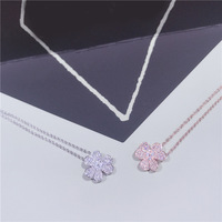 zoziri brand 925 stelring silver party jewelry 3A cubic zirconia three clover necklace rose gold silver flower pendant