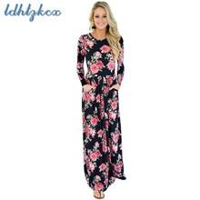 Print Pockets Long-sleeved Dress Women 2018 Autumn-winter New Fashion High Waist Show Thin Elegant Chic O-Neck LD343