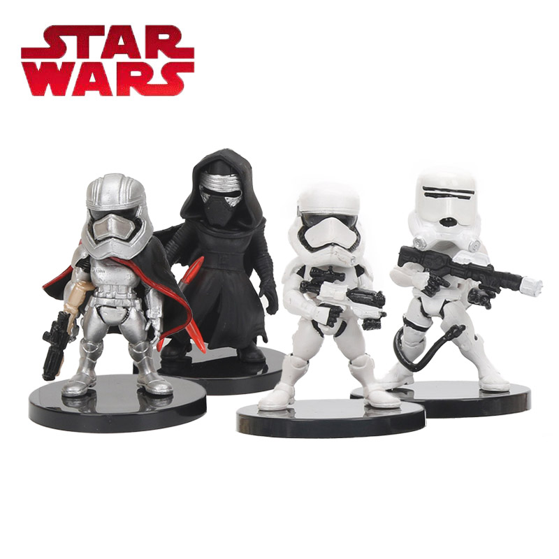 4pcs/set 5cm Star Wars Toy Darth Vader Kylo Ren The Storm Troops Imperial Stormtrooper PVC Action Figure Set Star Wars Figure star wars taiko yaku stormtrooper 1 8 scale painted variant stormtrooper pvc action figure collectible model toy 17cm kt3256