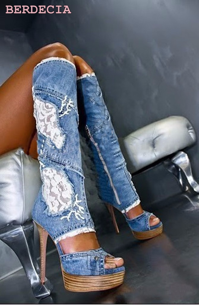 Hot selling denim lace flower hollow out over-the-knee long boots thigh high stiletto heel boots platform high quality shoes