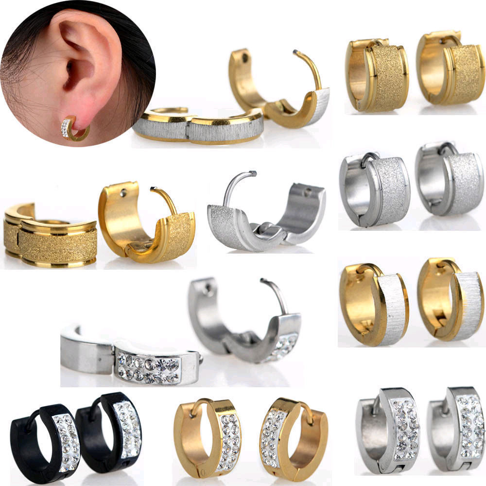 Punk Men Women Stainless Steel Hoop Earrings With Crystal Cz Gold Silver  Round Hoop Huggie Earrings