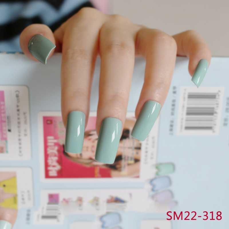 20 sztuk Fasle Nails jasnozielone cukierki płaskie sztuczne paznokcie Manicure paznokcie bardzo długa paznokcie sztuka codzienny styl 318