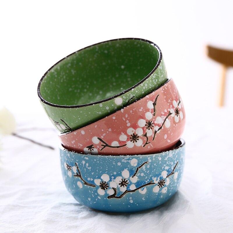1pc Plum Ceramic Bowl Household Rice Bowl Children Small Bowl Tableware Soup Bowl