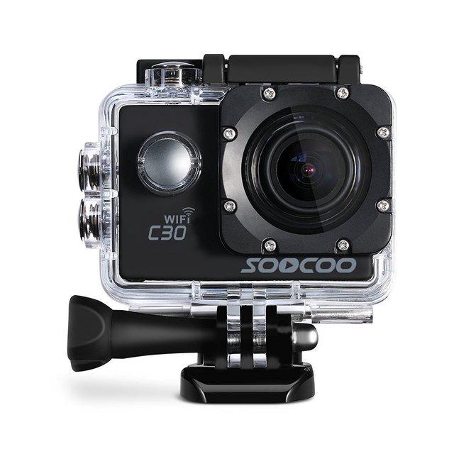 Soocoo c30 4 k wifi action sports câmera giroscópio embutido ajustável ângulos de visão (70-170 graus) 2.0 lcd ntk96660 30 m à prova d' água