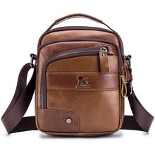 Luxury Brand Genuine Leather Messenger Bag Male Vintage Shoulder Bag Small Casual  Cowhide Flap Crossbody Bags For Men Handbag