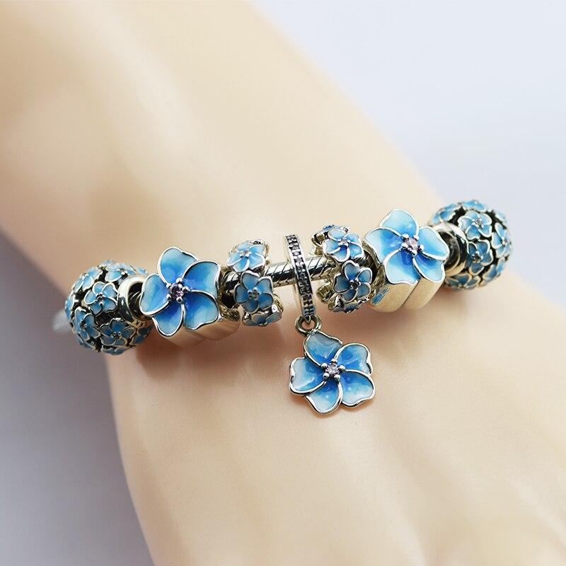 100% 925 En Argent Sterling Perles Charme Balancent, bleu Émail Ensemble de Bijoux pour les Femmes Fit Fandola Bracelet DIY Bijoux CKSR010