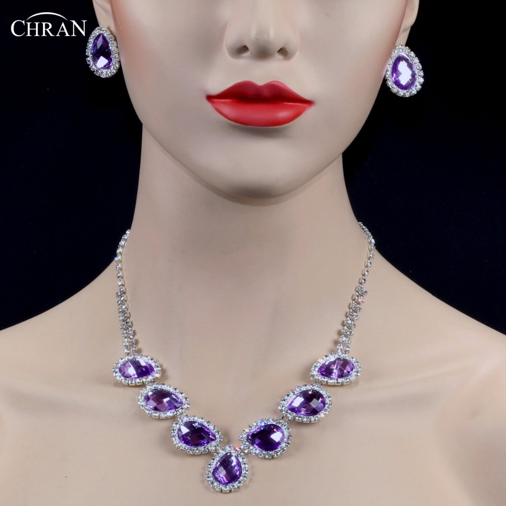 CHRAN Classic Silver Drop Crystal Wedding Jewelry Sets for Women Fashion Simple Rhinestone Jewelry Set Lovely Ladies Gifts