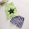Baby Boy Cotton Costume Infant Toddler Suits 2pcs Baby Boy Sleeveless T-shirt + Striped Shorts Children's Star Design Suits
