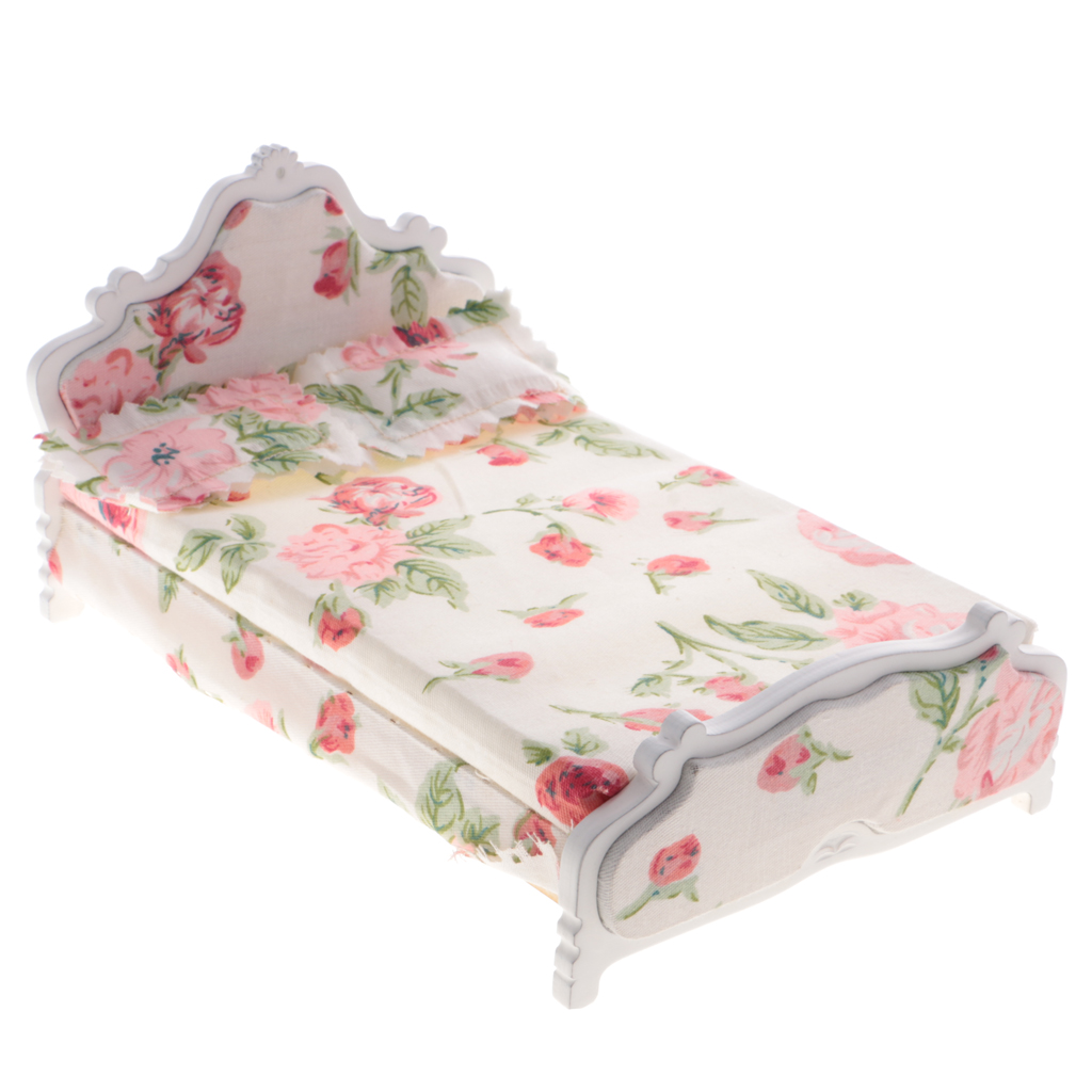 1//12 Scale Miniature Dolls House Red Floral Single Bed Furniture Kits