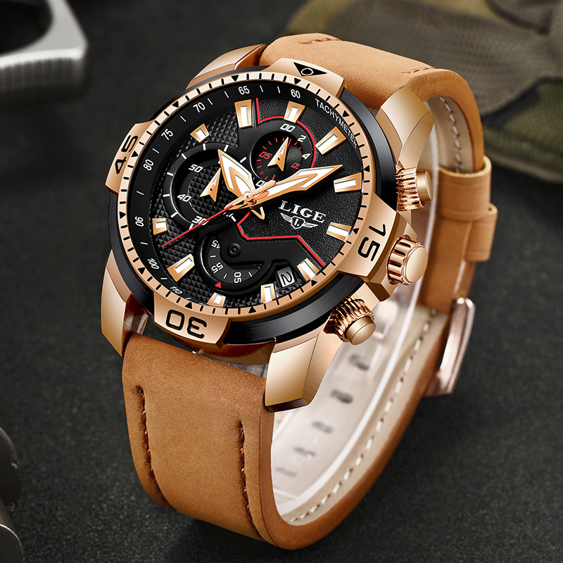 2019 Men Watch LIGE Brand Fashion Sports Quartz Watches Mens Leather Waterproof Chronograph Clock Business Relogio Masculino+Box