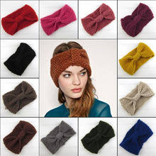 Hair Accessories Winter Warmer Ear Knitted Headband For Women Crochet Bow Knot Soft Stretch Hairband Turban Headwrap Girls