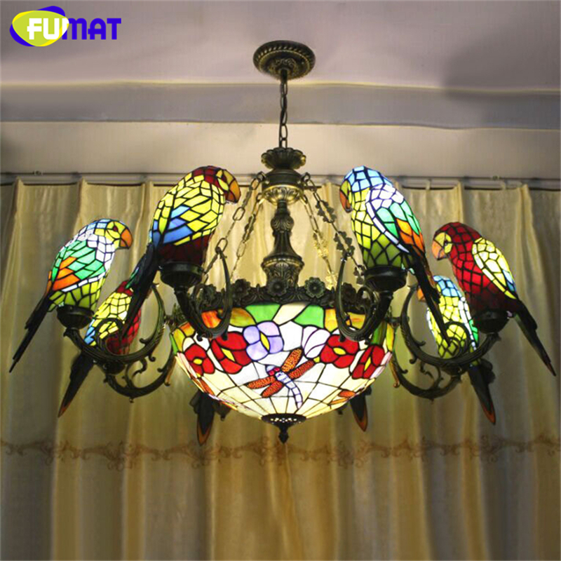 Fumat Parrots Bird Chandelier European Retro Stained Glass