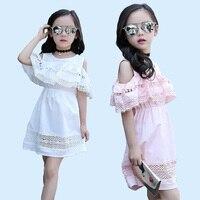 여자 드레스 여름 코튼 쉬폰 프릴 댄스 파티 드레스 아이 유럽 아름다운 어린이 드레스 핑크 공주 여자 드레스 나이 10