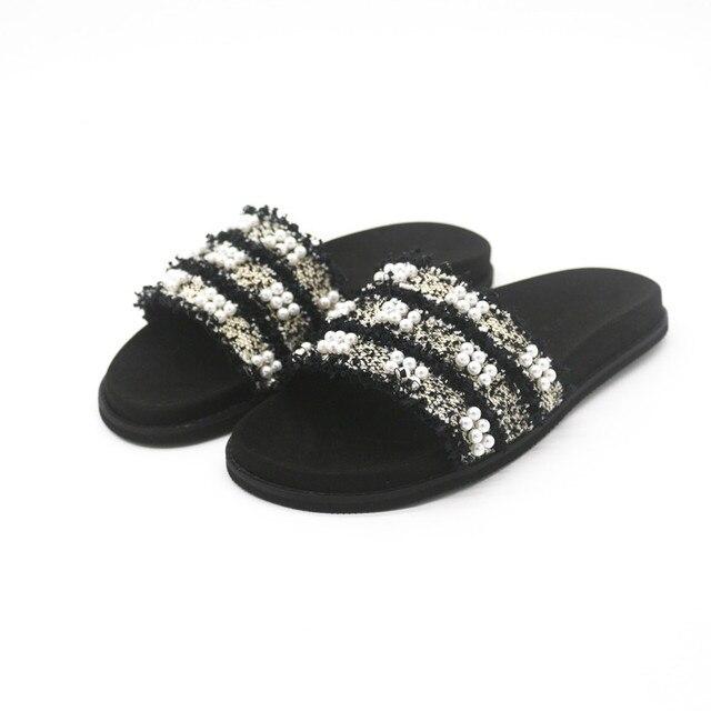 016ba6907 Newest flip flops women black flats sandals women fringe zapatos mujer  white pearl decor summer shoes