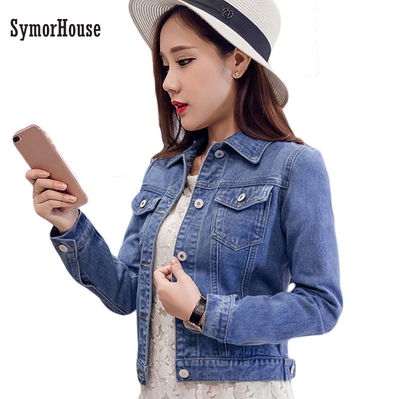 2019 Fashion Jeans Jacket Women Spring 2XL XL Spring Autumn Hand Brush Long Sleeve Stretch Short Denim Jacket White Pink   Coats