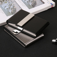 1PC Cigarette Case Smoking Accessories Cigar Storage Box Stainless Steel Multifunction Card Cases PU Tobacco Holder JWJKB4 aluminum cigar cigarette case tobacco holder pocket box storage container stainless steel pu card smoking case accessories