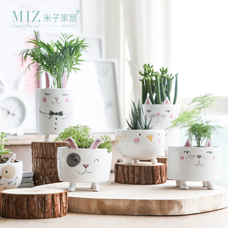 Miz 1 Piece Vase Cute Animal Figure Ceramic Vase for Plants Home Garden Decoration Acces ...