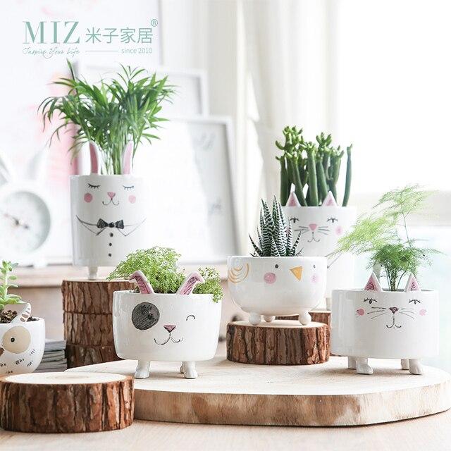 Miz 1 Sztuka Wazon Cute Zwierząt Rysunek Akcesoria Mały Garnek Ceramiczny Wazon dla Rośliny Dom Ogród Dekoracji Prezent dla Przyjaciół