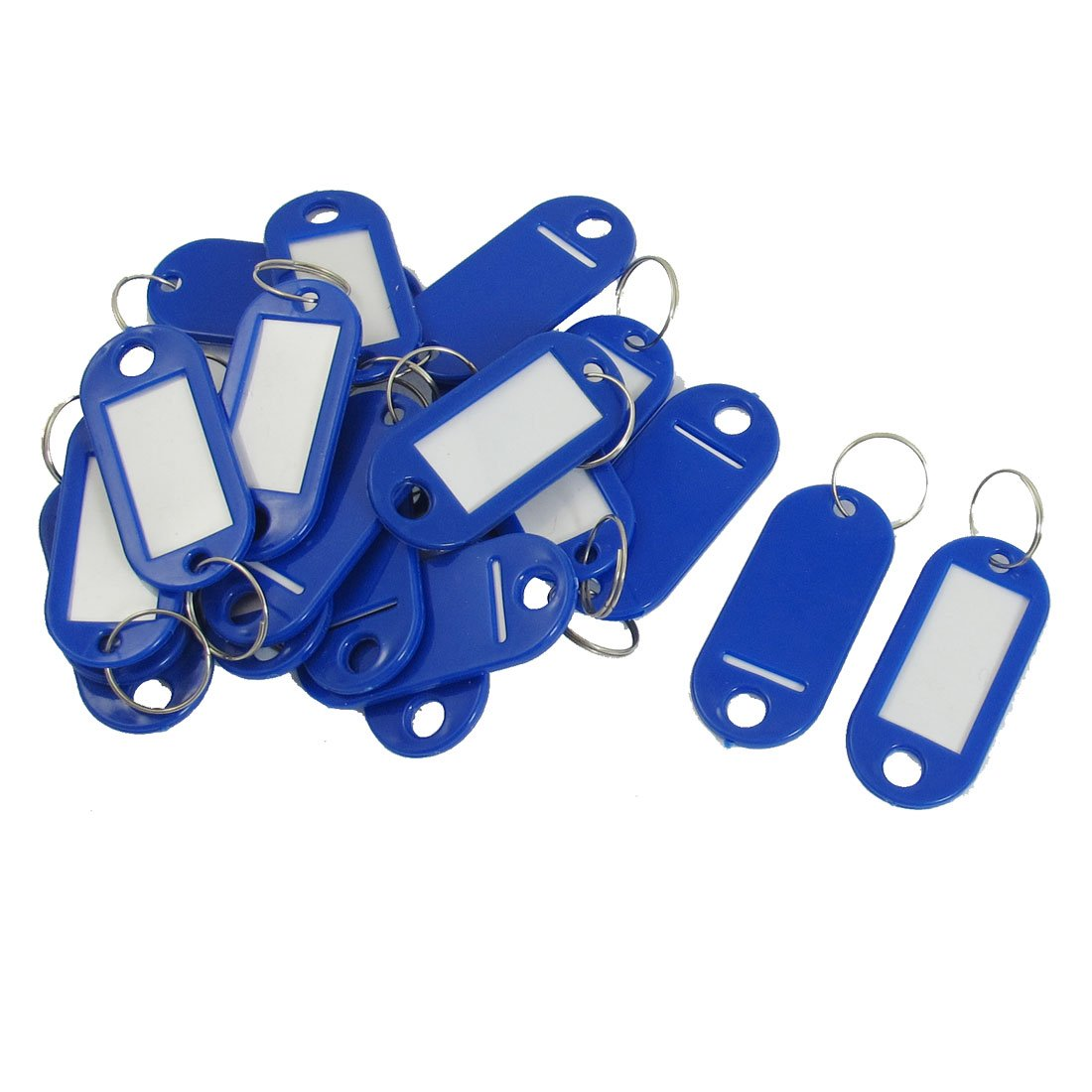 20 Pcs Key ID Label Tags Split Ring Keyring Keychain Blue Key Fobs ID Tags