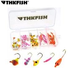 THKFISH 70 Pcs Winter Jig Heads Fishing Hooks Saltwater Freshwater 0.5g 0.75g 1.24g Metal Bait Lead Ice Fishing Jigs Panfish