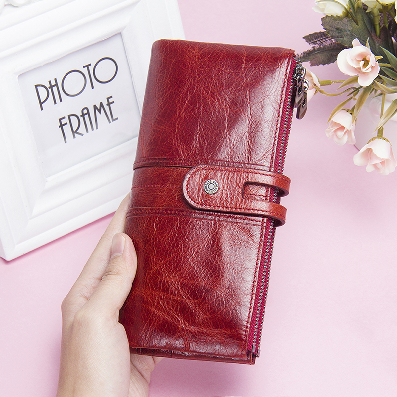 Large Capacity Woman Purse Long Wallet Genuine Leather Card Holder Women Wallet Zipper Clutch Bag For Ladies Fashion Coin Purse women wallet long zipper wallet high capacity crocodile grain female card package fashion hand bag change purse