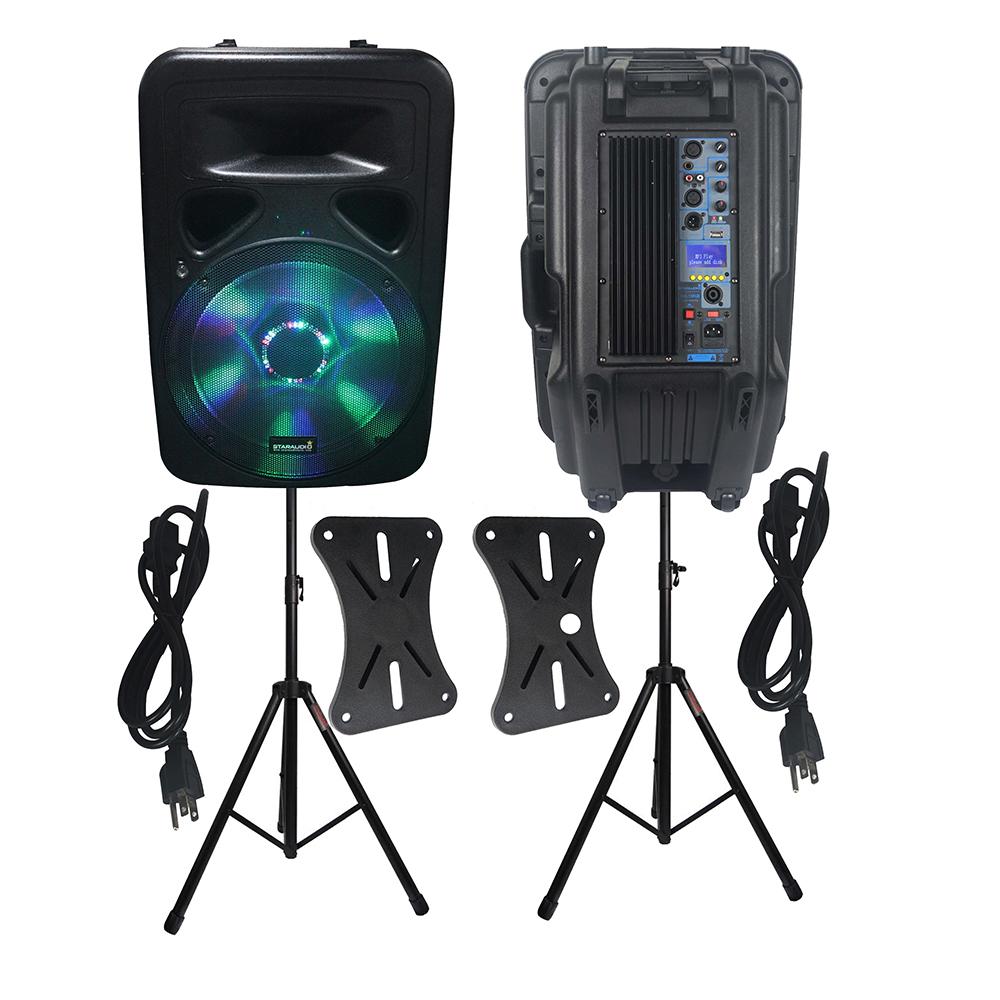 STARAUDIO 2Pcs 15 DJ 3500W PA Active Powered LED Light Speakers Night Clubs Speakers Stage DJ Party Speakers Stand SML-15RGBSTARAUDIO 2Pcs 15 DJ 3500W PA Active Powered LED Light Speakers Night Clubs Speakers Stage DJ Party Speakers Stand SML-15RGB