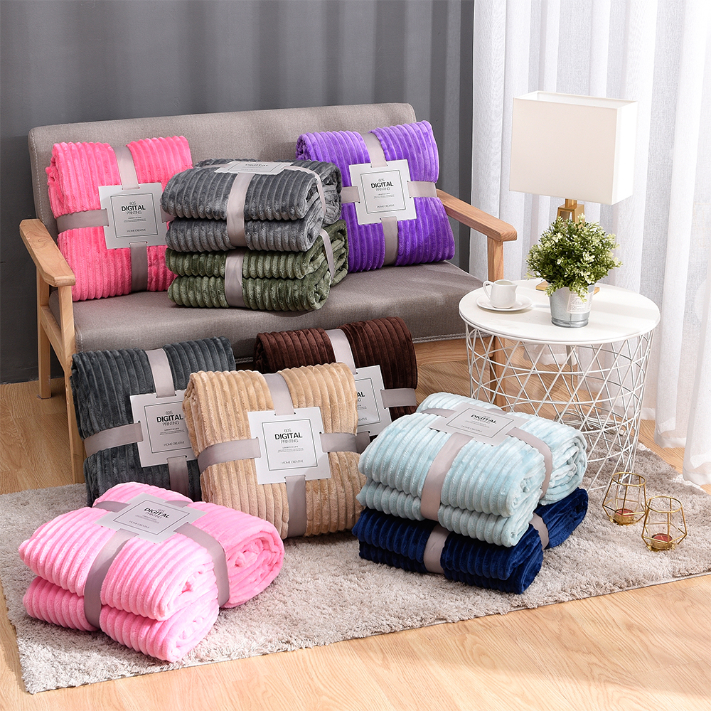 Striped Flannel Blankets For Beds Solid Coral Fleece Throw Winter Bed Linen Sofa Cover Bedspread Soft Fluffy Blankets