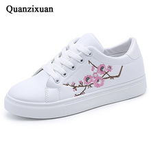 Women Casual Shoes Summer 2019 Women Shoes Fashion Embroidered Women Vulcanize Shoes Breathable Lace-Up Women Sneakers