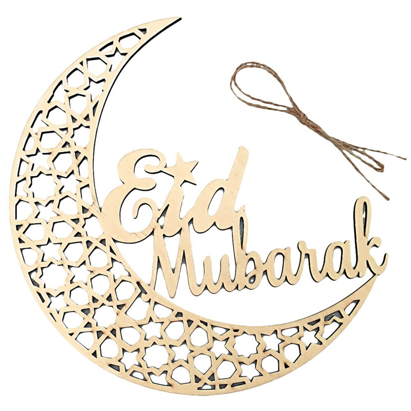 Ramadan Eid Mubarak Wooden Plaque Moon Islam Muslim Eid Mubarak Hanging Pendant Decoration For Home DIY Hollow Party Supplies  (4)