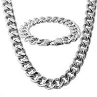 Classic Curb Cuban Link Jewelry Set Necklace for Men Stainless Steel Chain Men's Bracelet Silver 13/15mm