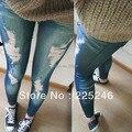 Женщины винтаж тонкий джинсы проблемные брюки эластичный девушка тощий Jeggings CY0349