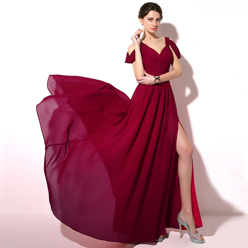 Elegant Off Shoulder Chiffon Bridesmaid Dress