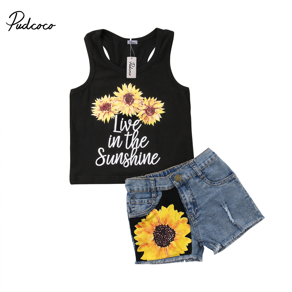 Pudcoco Baby Girl Kids Summer Toddler Outfits Sunflower T-shirt Tops+Denim Shorts 2PCS Clothes Set 2018 New 3pcs outfit infantil girls clothes toddler baby girl plaid ruffled tops kids girls denim shorts cute headband summer outfits set