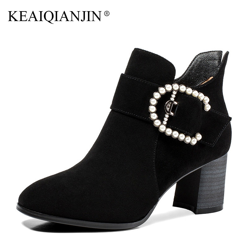 KEAIQIANJIN Woman High Heels Sneaker Autumn Winter Black Green Plus Size 33 - 42 Boots String Bead Genuine Leather Ankle Boots oversize autumn winter men s tapered jeans trousers denim harem pant plus size 40 42 44 46 48