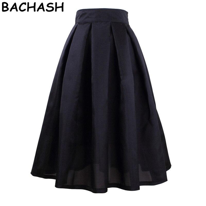 Bachash High Waist Pleated Elegant Skirt Green Black White Knee-Length Flared  Skirts Fashion Women 16f29dbd0ea2