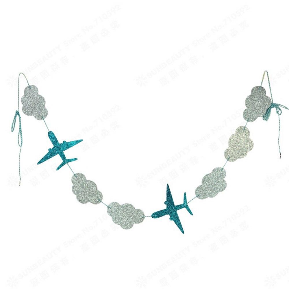 Облака и самолетов гирлянды висят Бумага овсянка баннер для душа ребенка Дети событий рождения вечерние поставки