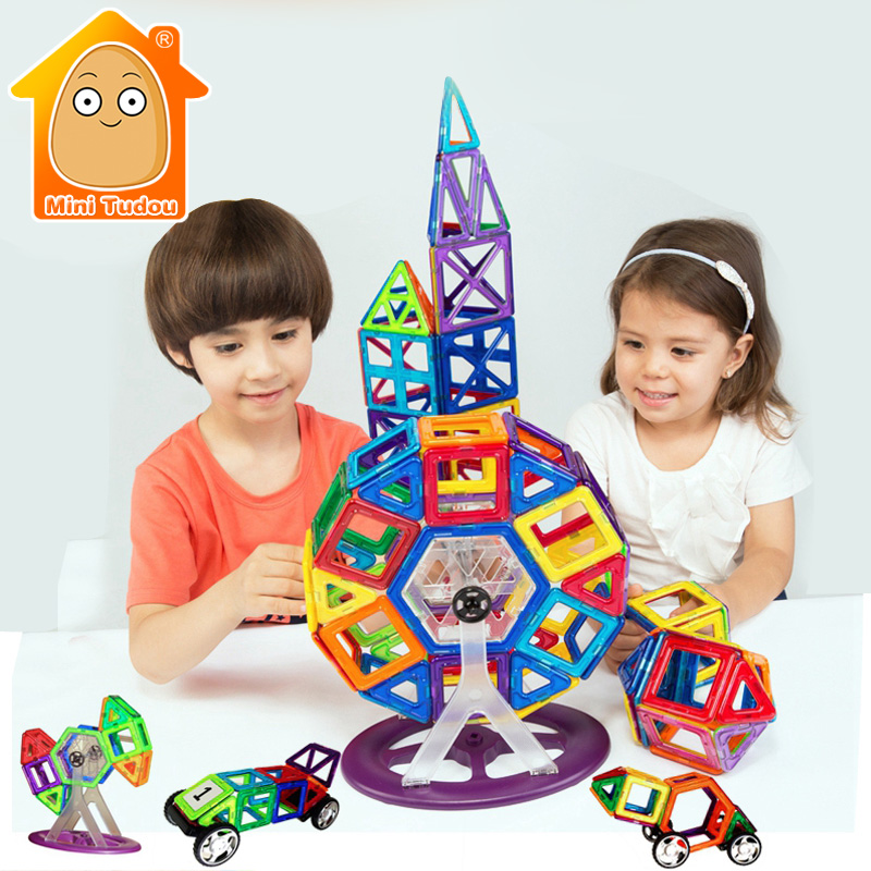 Minitudou Game For Children 3D DIY Building Construction Toy 93PCS/Lot Magnetic Blocks Learning Educational Toys Bricks ball finding game ru bun lock children puzzle toy building blocks
