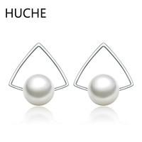HUCHE Fashion Jewelry 925 Sterling Silver Triangle Pearl Stud Earrings for Women Kpop Simple Style Elegant Earring Female ZB534