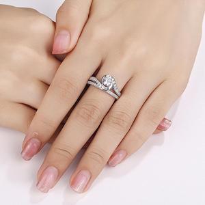 Image 3 - Набор свадебных колец Newshe, 2 шт., чистое 925 пробы, серебряное, 1,13 карат, круглые AAA обручальные кольца с фианитами для женщин, модные украшения
