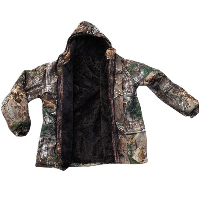 Autumn Winter Warm Fleece 3D Camouflage Hunting Jacket Ghillie Suit Tactical Hiking Fishing Clothes Men Waterproof Hooded Jacket 1