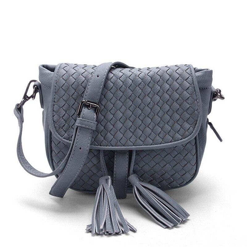 ФОТО New Fashion pu leather tassel zipper bags for women Braided tassels women cross body bags women messenger bag