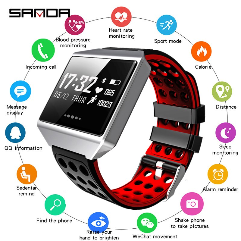 SANDA New Brand Smart Watch Men Sport Heart Rate Monitor Smartwatch Women Blood Pressure Watches IOS
