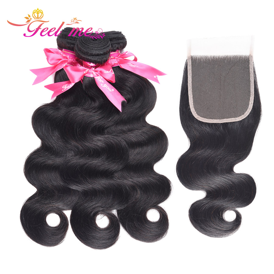 Feel Me Hair Brazilian Body Wave with Closure Free Part Human Hair 3 Bundles and Lace Closure 100% Non-remy