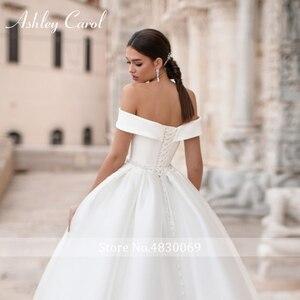 Image 4 - Ashley Carol A Line düğün elbisesi 2020 zarif yumuşak saten Cap Sleeve Lace Up düğmesi Sashes prenses gelin törenlerinde Vestido De Novia